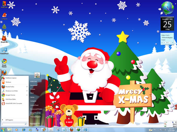 Blue Christmas Windows 7 Theme by yonited Temas Natalinos para Windows 7
